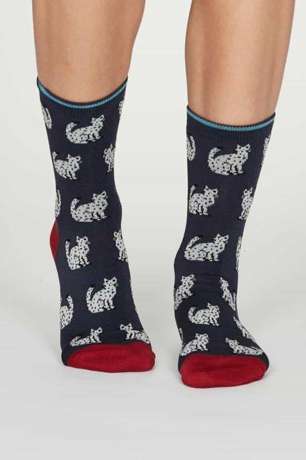 Thought dámské bambusové ponožky kitty modré