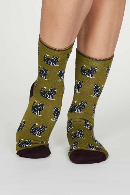 Thought dámské bambusové ponožky kitty zelené