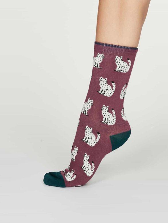 Thought dámské bambusové ponožky kitty růžové