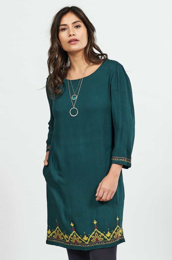 Nomads tunikové šaty s výšivkou zelené