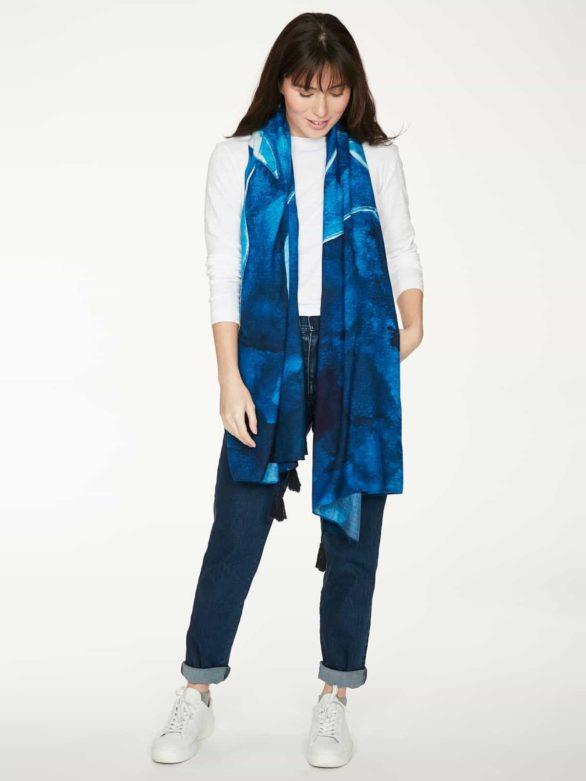 Thought bambusový šátek cyanotype