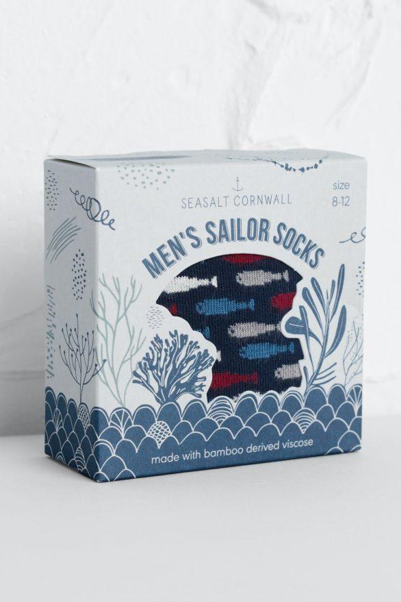 Seasalt Cornwall dárkové pánské ponožky seabed fish