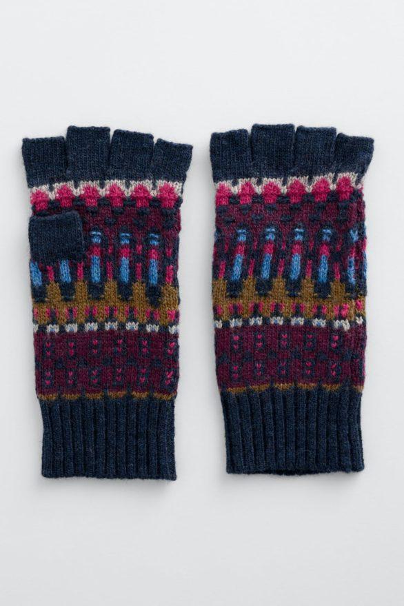 Seasalt Cornwall vlněné bezprsté rukavice coppicing compote