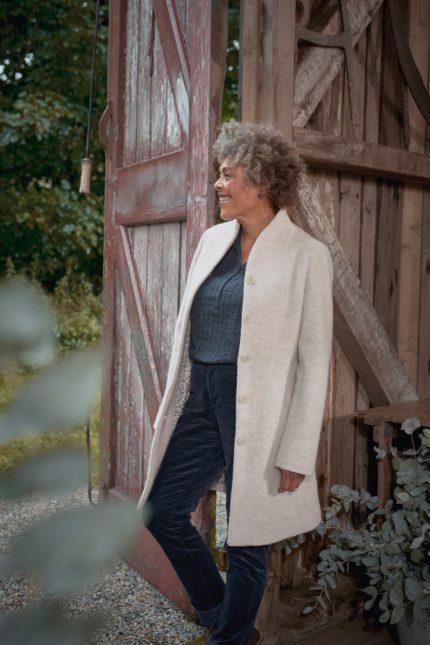 Seasalt Cornwall vlněný kabát downas cove aran