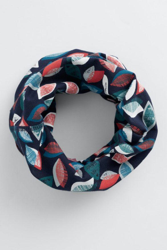 Seasalt Cornwall kruhový šátek leaves midnight z bio bavlny