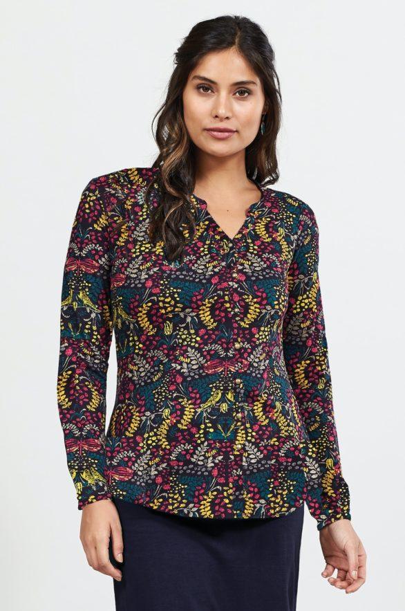 Nomads košile z bio bavlny songbird aubergine
