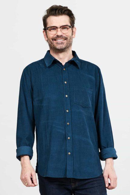 Nomads pánská manšestrová košile modrá