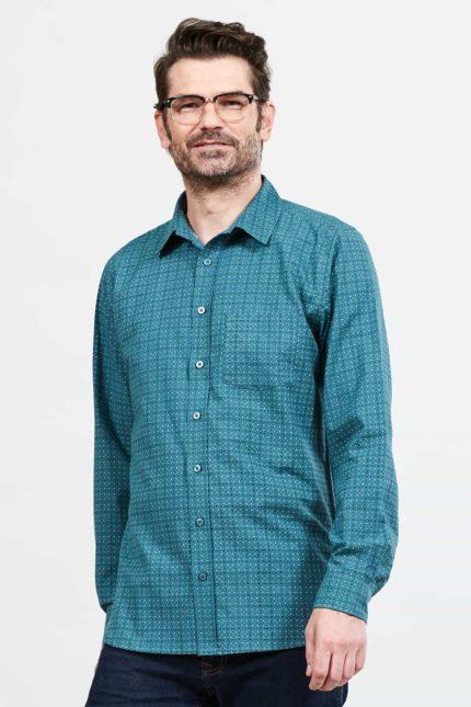 Nomads pánská košile geo check modrá