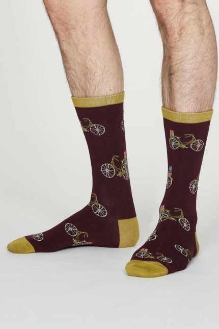 Thought pánské bambusové ponožky pedal vínové
