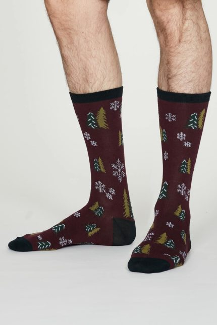 Thought pánské bambusové ponožky timber vínové