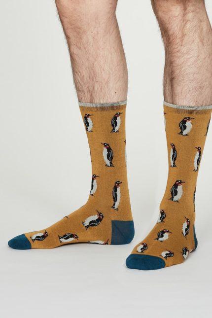 Thought pánské bambusové ponožky penguin žluté