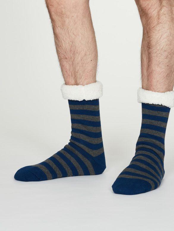 Thought pánské huňaté ponožky addison modré