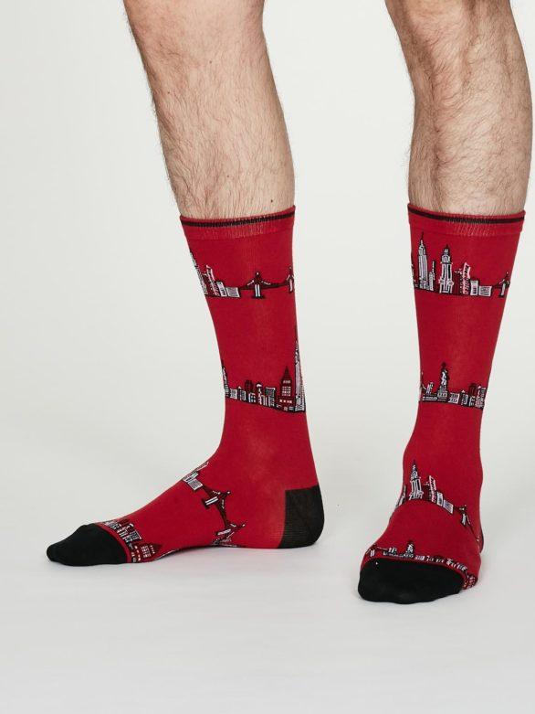 Thought pánské bavlněné ponožky monument červené