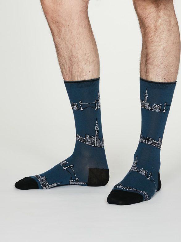Thought pánské bavlněné ponožky monument modré