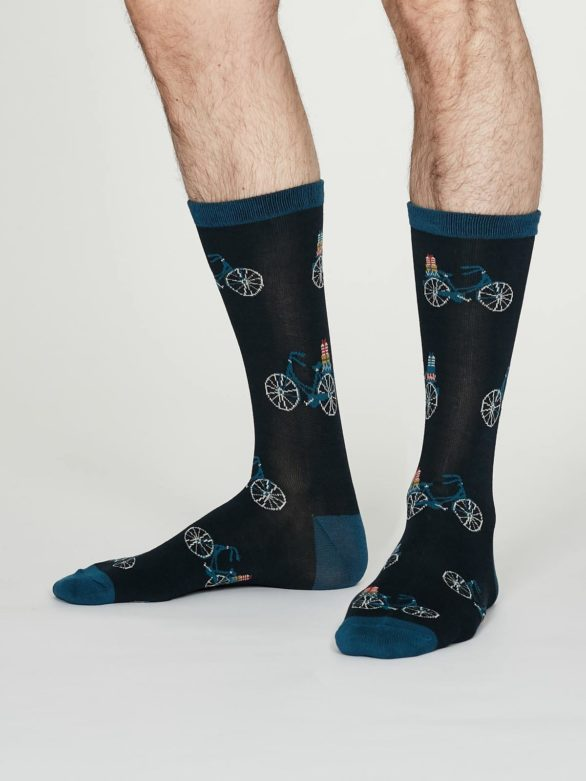 Thought pánské bambusové ponožky pedal tm. modré