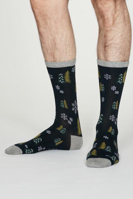 Thought pánské bambusové ponožky timber tm. modré