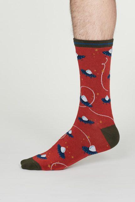 Thought pánské bambusové ponožky cosmos červené