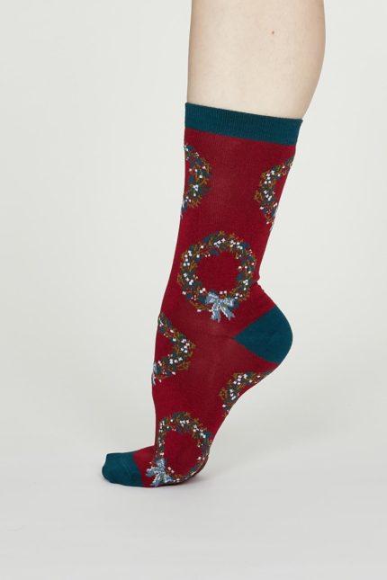 Thought dámské bambusové ponožky adella červené