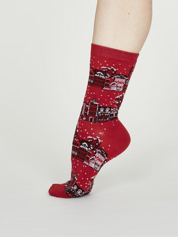 Thought dámské bavlněné ponožky godelena červené