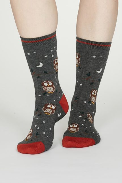 Thought dámské bambusové ponožky night owl šedé