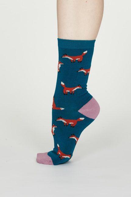 Thought dámské bambusové ponožky foxy modré