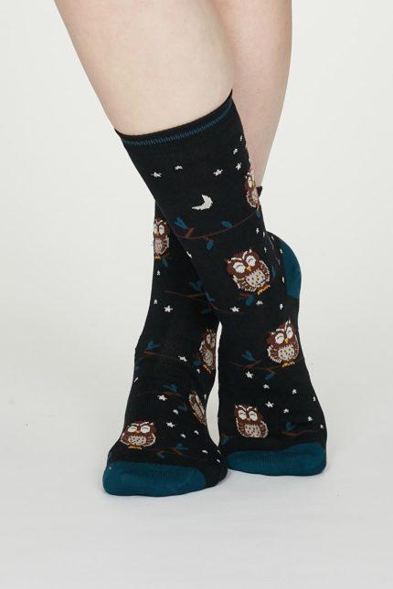 Thought dámské bambusové ponožky night owl modré