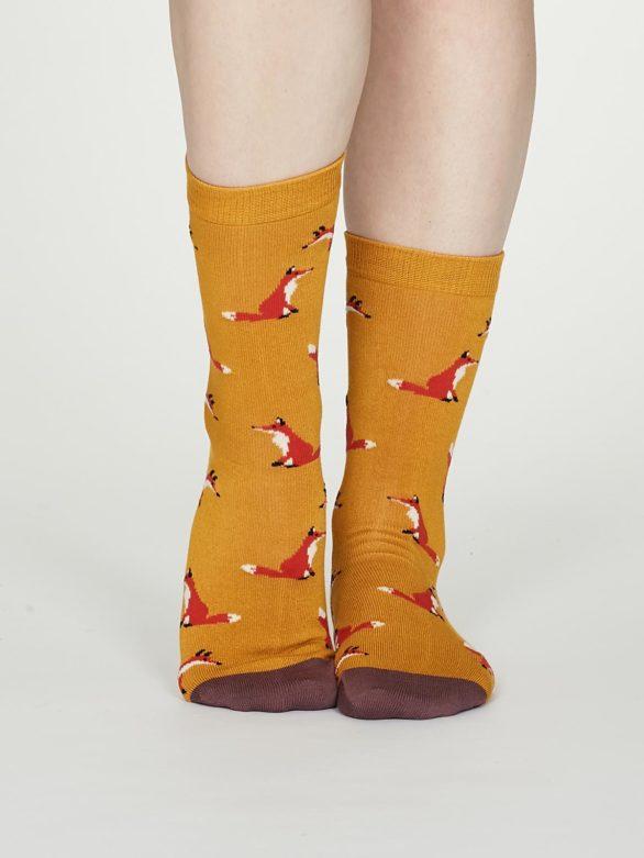 Thought dámské bambusové ponožky foxy žluté