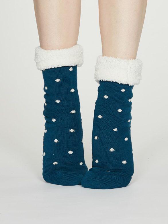 Thought dámské huňaté ponožky elizabeth modrozelené
