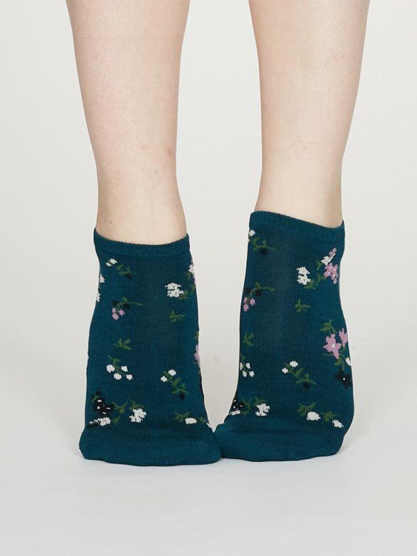 Thought dámské kotníkové ponožky flowery zelené