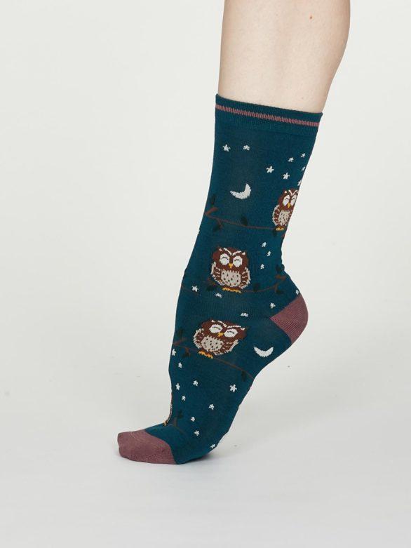 Thought dámské bambusové ponožky night owl zelené