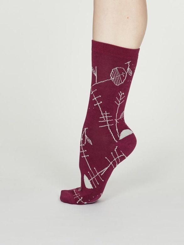 Thought dámské bambusové ponožky edith vínové