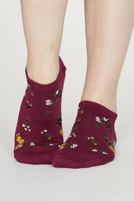 Thought dámské kotníkové ponožky flowery vínové