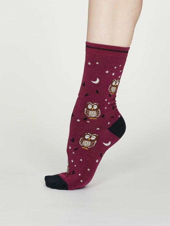 Thought dámské bambusové ponožky night owl vínové