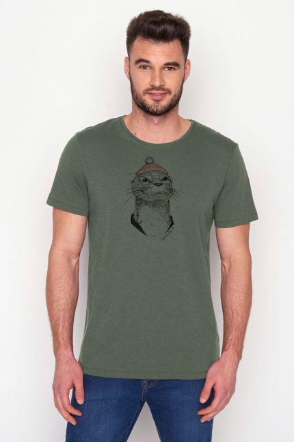 Greenbomb tričko animal otter olive z bio bavlny