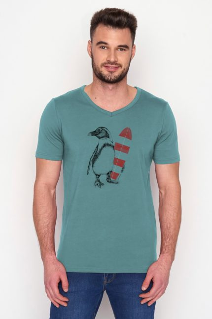 Greenbomb tričko penguin surfer modré z bio bavlny