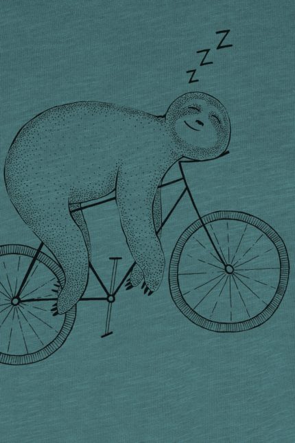 Greenbomb tričko bike sloth dirty blue z bio bavlny