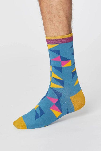 Thought pánské bambusové ponožky triangle světle modré