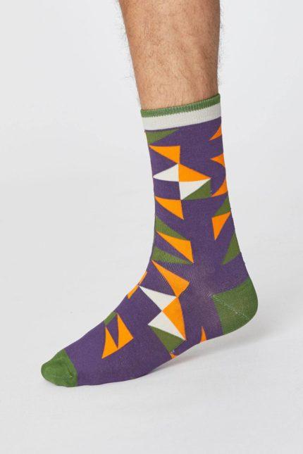 Thought pánské bambusové ponožky triangle fialové