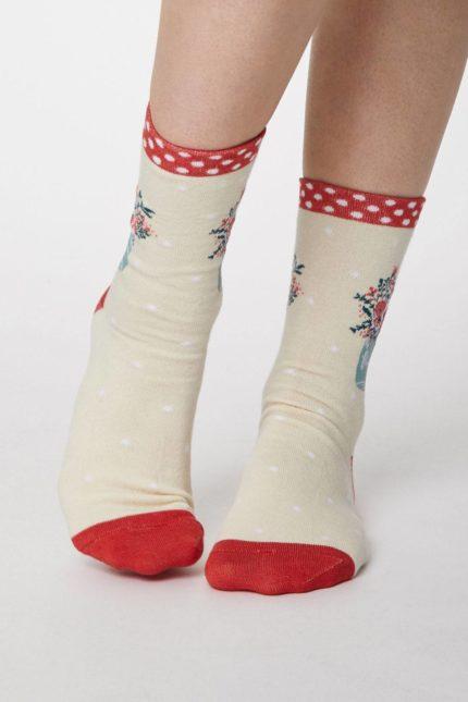 Thought dámské bambusové ponožky flora modré (kopírovat)