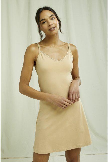 People Tree spodnička lace trim tělová z bio bavlny