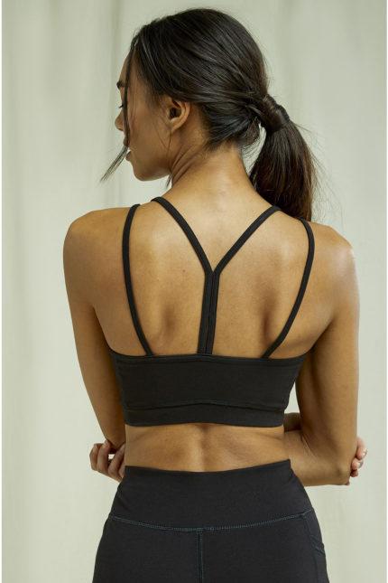 People Tree crop top yoga černý z bio bavlny