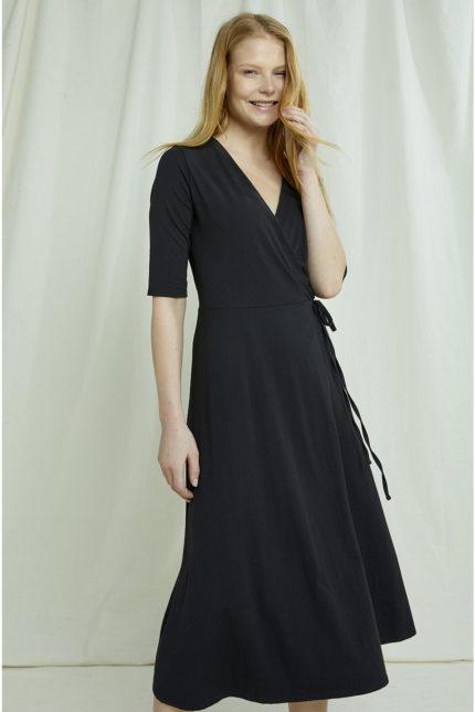 People Tree zavinovací šaty mishka černé z bio bavlny