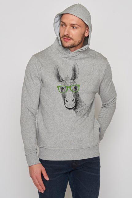 Greenbomb mikina s kapucí donkey šedá