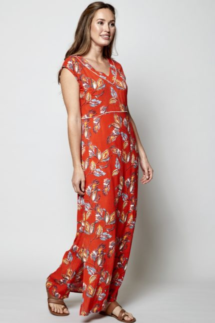 Nomads maxi šaty aquarelle červené