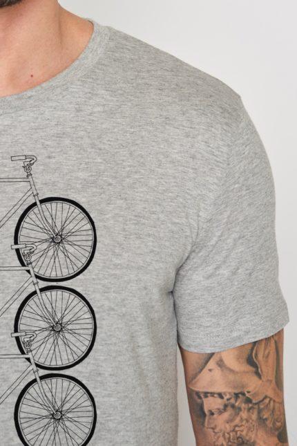 Greenbomb tričko bike trio šedé