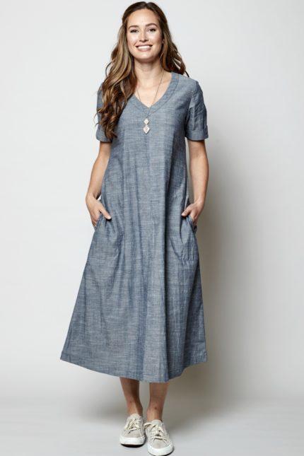 Nomads midi šaty chambray z bio bavlny