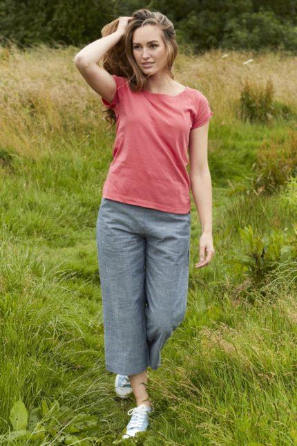 Nomads crop široké kalhoty chambray