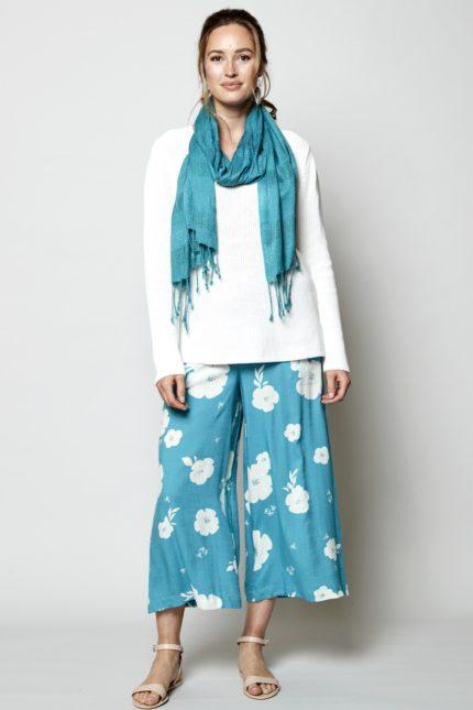Nomads Široké kalhoty hibiscus modré