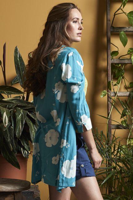 Nomads tuniková košile hibiscus modrá