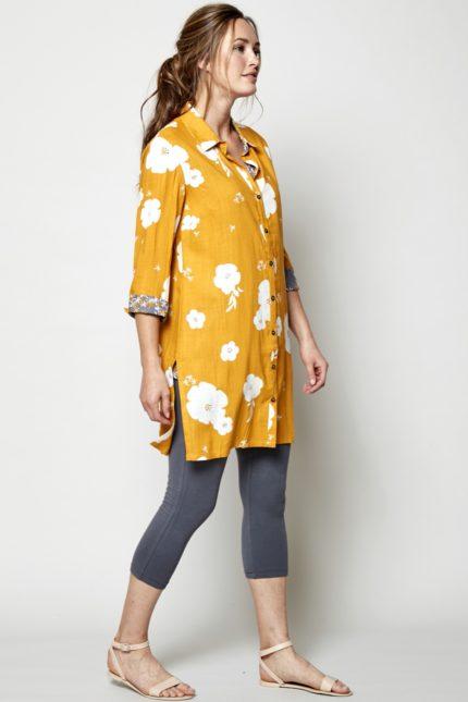 Nomads tuniková košile hibiscus žlutá